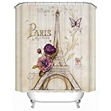 Eiffel Tower Shower Curtain Uphome Paris Fabric Shower Curtain, Heavy Duty Cream Eiffel Tower Bathroom Shower Curtain with Bluish Flowers for Bathtubs Showers, Vintage Paris Bathroom Decor, (72