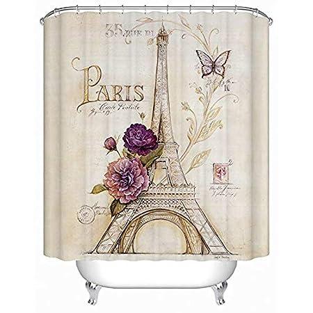 Heavy Duty Cream Eiffel Tower Bathroom Shower Curtain with Bluish Flowers for Bathtubs Showers Uphome Paris Fabric Shower Curtain 60 W x 72 H COMIN18JU030431 60 W x 72 H Vintage Paris Bathroom Decor,