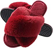 Slippers for Woman, Fuzzy Cross Band Slide House Slippers Soft Faux Fur Open Toe Indoor Outdoor Shoes