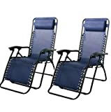 Lounge Chairs-Zero Gravity Chairs Case Of (2) Navy Blue Lounge Patio Chairs Outdoor Yard Beach-Chair-Patio Furniture Sets-For camping, pool days, patio furniture and so much more-Guaranteed! For Sale