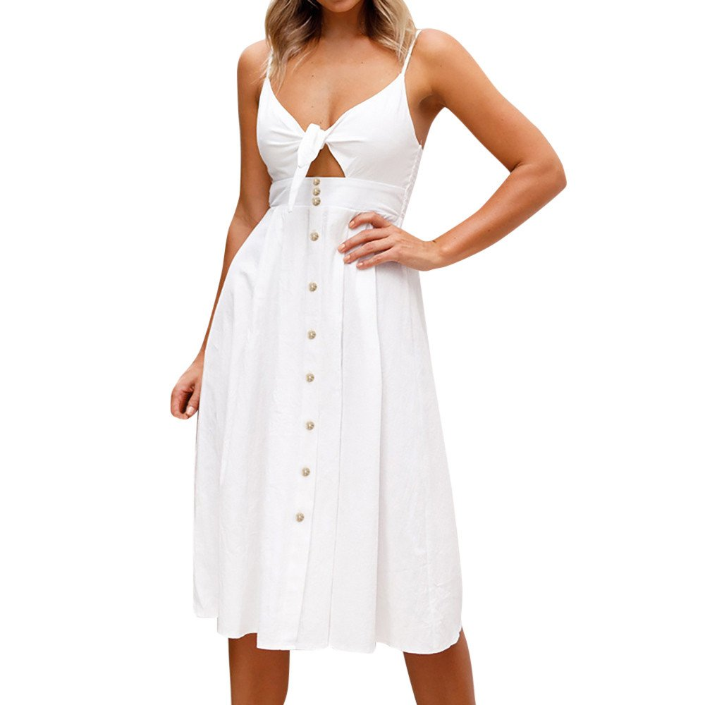 Women's Casual Bowknot Lace Up Strapless Buttons Midi Dress Sexy Cocktail Club Party Camis Dresses Beach Sundress White