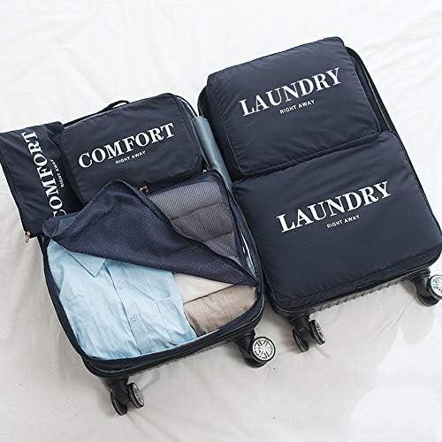 旅行用収納袋 6ピースパッキングキューブ旅行オーガナイザー荷物圧縮ポーチセット高品質防水服収納袋荷物オーガナイザーのセット ハンドロールアップ再利用可能な服 (色 : Light blue, Size : Free size)