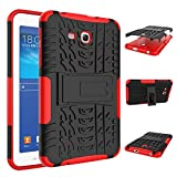 "For Samsung Galaxy Tab 3 Lite 7.0"" 2013 SM-T110 T111 Case Cool Tablet Cases Rugged Impact Armor Hybrid Tablets Protective Cover Shell Dual-Layer Detachable Shockproof Red"