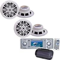 Pyle Marine Radio and Speaker Package - PLDMR3U In-Dash Marine CD/DVD Receiver with 3 Built In Monitor - 2x PLMR62 2 Pairs of 200 Watts 6.5 2 Way White Marine Speakers