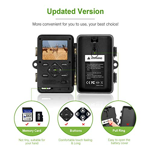 FLAGPOWER Trail Game Camera with Night Vision Motion Activated 16MP 1080P Hunting Camera with IP66 Waterproof 0.2s Trigger Time 32GB Memory Card 2.4 LCD Display for Wildlife Monitor