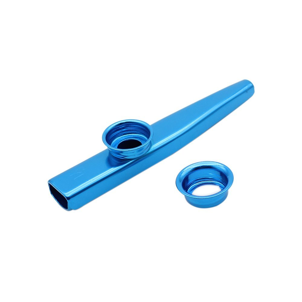 Flute - SODIAL(R) Kazoo Aluminum alloy Metal with 5 pcs Gifts Flute Diaphragm for Children Music-lovers-blue