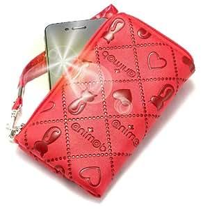"""""""Animate"""" Rojo, Lujosa Billetera / Sostenedor en imitación de cuero acolchonado y con cierre para ZTE R228. Auténtica Funda / Estuche con correa para transportar para teléfonos móviles."""