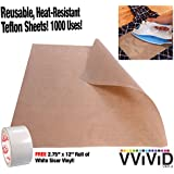 "VViViD Teflon Coated Non-Stick Fibreglass Heat Transfer Craft and Hobby Sheets Including 2.75"" x 12"" Sample Roll of White HTV Vinyl (16"" x 25"" 3-Roll Pack)"