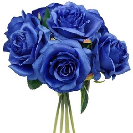 Ramo De Flores Artificial 25 Cm Diseño De Rosas Azules Amazones