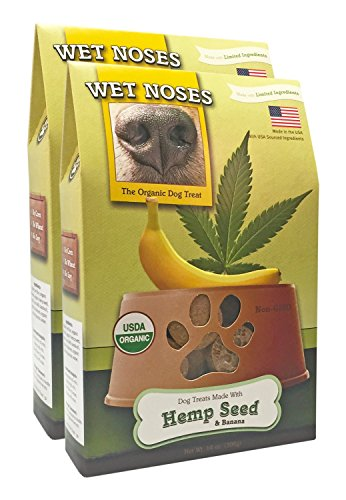 Wet Noses All Natural Dog Treats, Made in USA, 100% USDA Certified Organic, Non-GMO Project Verified (Hemp Seed & Banana, 2-Pack