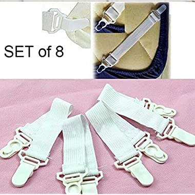 Set of 8 Bed Sheet Grippers with Plastic Clasps Garter Style Will Also Fit Ironing Board Covers (Manufactured By Dependable)