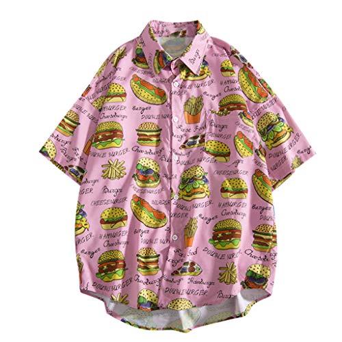 YKARITIANNA 2019 Mens Summer Fashion Shirts Casual Short Sleeve Beach Tops Loose Casual Blouse Pink