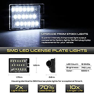 VIPMOTOZ Full LED License Plate Light Lamp Assembly Replacement For 2014-2020 Dodge Durango, 6000K Diamond White, 2-Pieces Set: Automotive