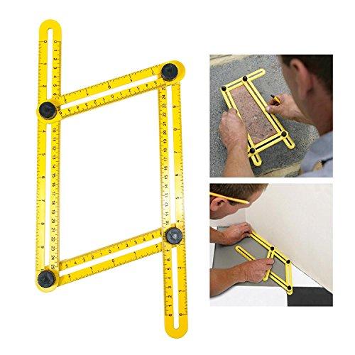 [해외]Leegoal (TM) 앵글 라이저 템플릿 툴, 각도 측정 눈금자, 멀티 Angleizer 템플릿 빌더 또는 엔지니어 용 눈금자, 옐로우 + 블랙/Leegoal(TM) Angleizer Template Tool,Ang