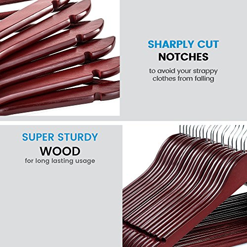 ZOBER Solid Cherry Wood Suit Hangers -20 Pack - with Non Slip Bar and  Precisely Cut Notches - 360 Degree Swivel Chrome Hook - Cherry Finish Super