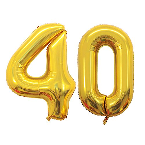 (GOER 42 Inch Gold 40 Number Balloons,Jumbo Foil Helium Balloons for 40th Birthday Party Decorations and 40th Anniversary)