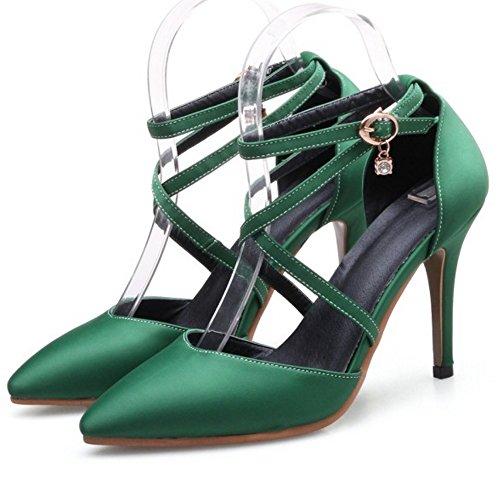 RAZAMAZA Mujer Moda Verano Cerrado Tacon de Aguja Sandalias Criss Cross Strappy Zapatos Verde