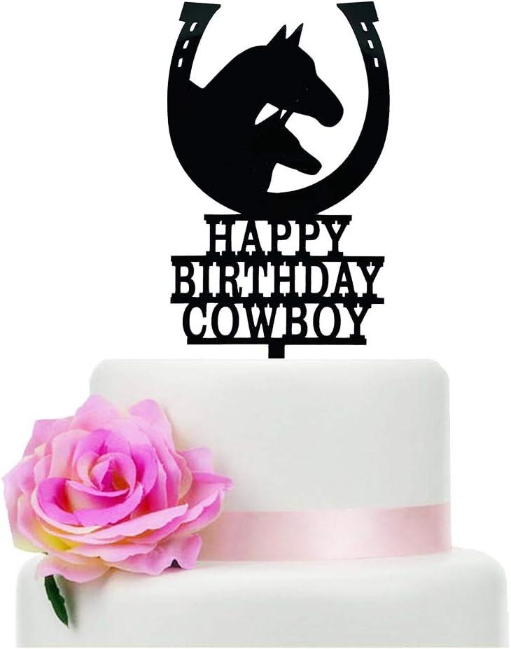 Happy Birthday Cowboy Cake Topper, Unicorn Cake Topper, Horseshoe Cake Topper, Birthday Party Decoration