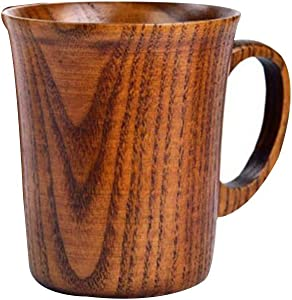 Liveday Solid Jujube Mug Wooden Coffee Beer Mugs Wood Cup Nature Lacquer Handmade Tea Cup with Handle 301-400ml Good for Health(only one Cup)