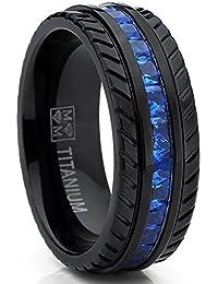 Men's Black Titanium Wedding Band, Engagement Eternity ring W/Princess Cut Deep Blue Cubic Zirconia CZ