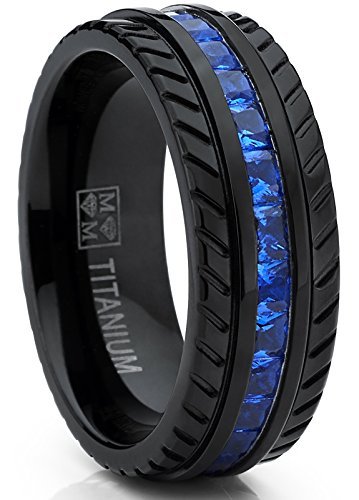 Metal Masters Co. Men's Black Titanium Wedding Band, Engagement Eternity ring W/Princess Cut Deep Blue Cubic Zirconia CZ 9.5 ()