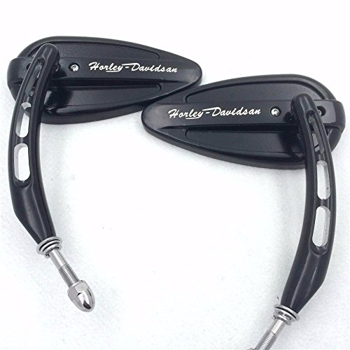 """""""Horlay Davidsan"""" Engaved- Motorcycle Black Side Mirrors (Style 395E) For 1982 and Up Harley Davidson Tour Glide Classic FLTC Electra Glide FLHTC"""