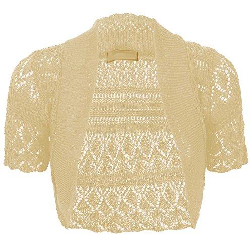 Thever Women Short Sleeve Knitted Crochet Shrug Bolero Cardigan Ladies Crop Top (S(6-8), Peach)