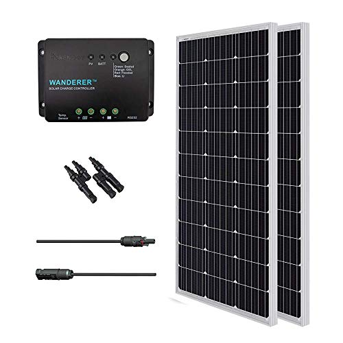 Renogy 200 Watts 12 Volts Monocrystalline Solar Bundle Kit w/ 100w Solar Panel,30A Charge Controller,9in MC4 Adaptor Kit,A pair of Branch Connectors (Solar Panel 240w)