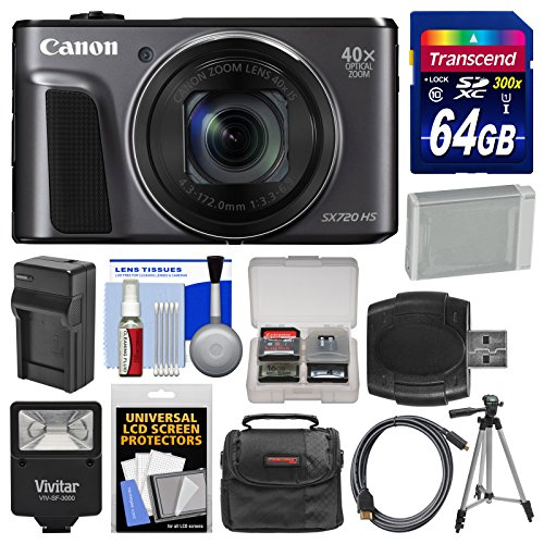 - Canon PowerShot SX720 HS Wi-Fi Digital Camera with 64GB Card + Case + Flash + Battery & Charger + Tripod + Kit