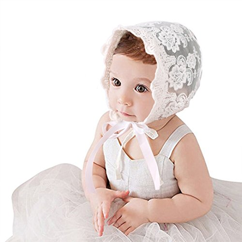(CC-US Baby Girls Princess Bonnet Lace Hat Cotton Adjustable Sun Hat Beanie )