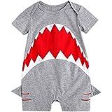 Babywow Awesome Unisex Infant Baby Boys Shark Romper Short Sleeve Bodysuit Jumpsuit Onesie (6-12M, Gray)
