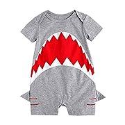 Babywow Awesome Unisex Infant Baby Boys Shark Romper Short Sleeve Bodysuit Jumpsuit Onesie (12-18M, Gray)