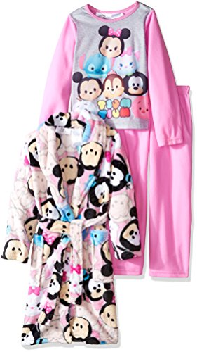 Disney Girls' Little Girls' Tsum Tsum 3-Piece Pajama Set with Robe, Pink, 6/6X