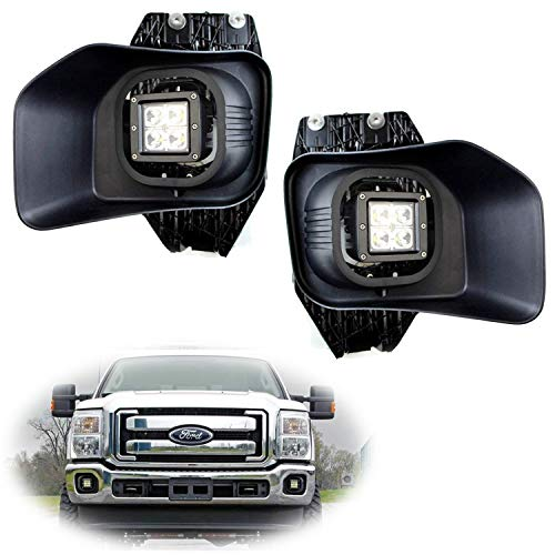 iJDMTOY LED Pod Light Fog Lamp Kit For 2011-16 Ford F250 F350 F450 Super Duty, Includes (2) 20W High Power CREE LED Cubes, Foglight Bezel Covers, Fog Location Mounting Brackets & Switch Wiring Kit