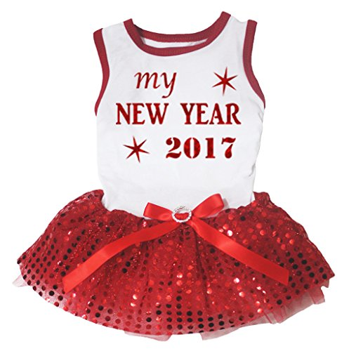 Petitebella Puppy Clothes Dress Bling My New Year 2017 White Shirt Sequins Tutu (X-large) ()