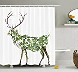 Designer Shower Curtains Ambesonne Antlers Decor Shower Curtain Set, Designer Deer Illustration Elk Leave Greenery Garden Traditional Celebration, Bathroom Accessories, 69W X 70L Inches