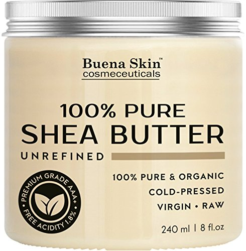 PURE Shea Butter by Buena Skin | Organic, Raw, Unrefined, Cold-Pressed - Great To Use Alone or DIY Body Butters, Lotions, Soaps, Eczema & Stretch Mark Products, From Ghana - 8 oz