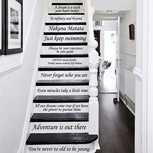 Disney Stair Decals Quotes Stairway Decals Quote 14 Steps Vinyl Stickers Disney lettering Family Home Decor Staircase Decal ZX233 by IncredibleDecals