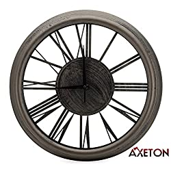 Axeton Roman Numeral Wall Clock, Bronze finish, Contemporary style decal, 13 Inches, Large Numbers, Elegance Display