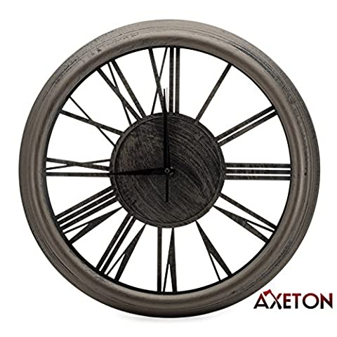Axeton Roman Numeral Wall Clock, Bronze finish, Contemporary style decal, 13