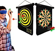 """15"""" Magnetic Dart Board Sets 6 Reversible Darts Rolling Double Sided Bullseye Game Magnetic Safety Dart B"""
