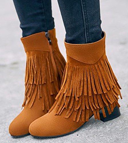 Idifu Kvinna Snygga Tasseled Fransar Mitten Chunky Klackar Ridning Boots Med Dragkedja Kamel