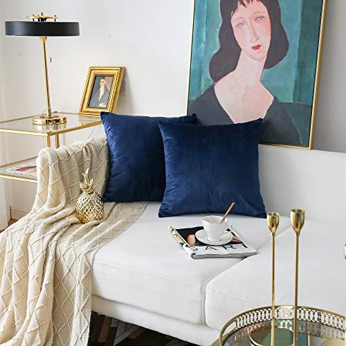 NATUS WEAVER Pack of 2,Velvet Soft Soild Decorative Navy BlueSquare Throw Pillow Cover Set Cushion Case for Sofa Office Car 24 x 24 Inch 60 x 60 cm