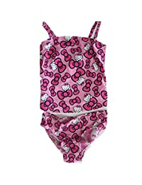 Sanrio Little Girls Pink Hello Kitty Bow Allover Print One Piece Swimsuit 6X