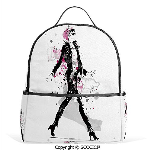 - All Over Printed Backpack Glamorous Stylish Woman Model on Catwalk Runway in Vintage Clothes Design,Black Pink,For Girls Cute Elementary School Bookbags