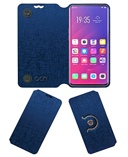 Acm Designer Rotating Flip Case Compatible with Oppo Find X Mobile Stand Cover Blue