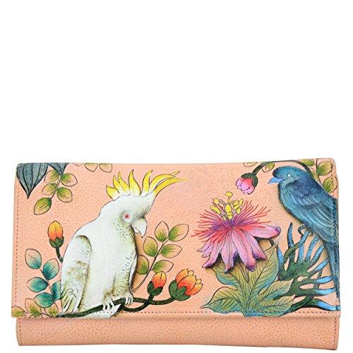 - Anuschka Women's Hand Painted Leather Checkbook wallet/clutch, Cockatoo Sunrise