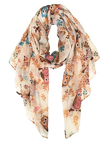 Owl Scarf - Herebuy - Cute Owl Printed Scarf for Winter Lightweight Women's Scarves Shawl (Khaki01)