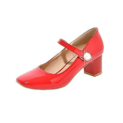 4f2ed27c79b AgooLar Women s Hook-and-Loop Closed-Toe Kitten-Heels Patent Leather Court