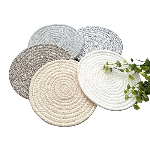 (POPU Round Rop Cotton Braided Table Place Mats Braided Coaster Placemas Non-Slip Table Mats Set of 5 for Dining Kitchen Table Washable Large Size)